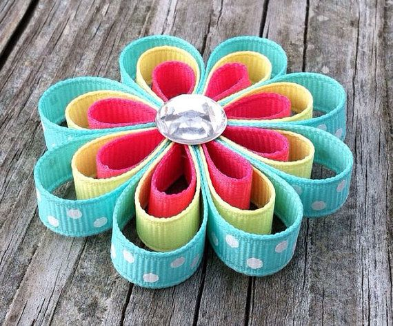 Free Shipping Hot Pink Yellow and Aqua Ribbon Flower by leilei1202, $3.75