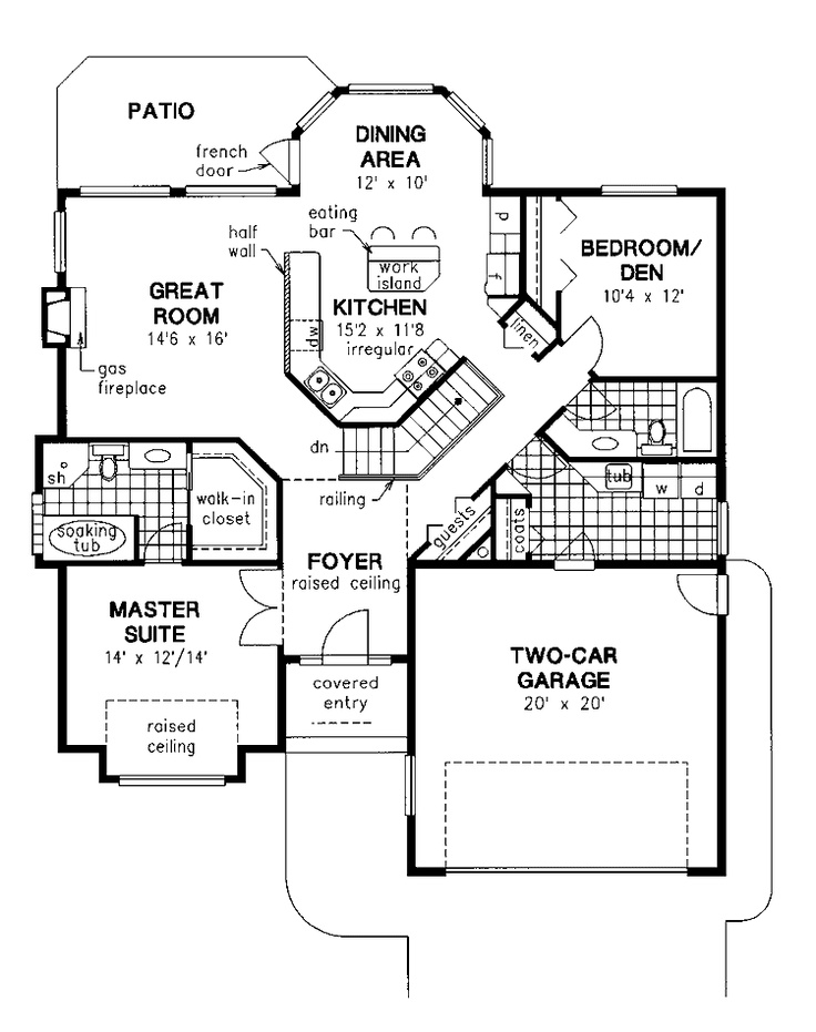 Floor Plans   1 Story Mediterranean Home With 2 Bedrooms, 2 Bathrooms And  Total Square Feet