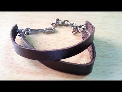 COMO FAZER PULSEIRA DE COURO - DIY. Pulseira de couro masculina DIY. como fazer pulseiras de couro