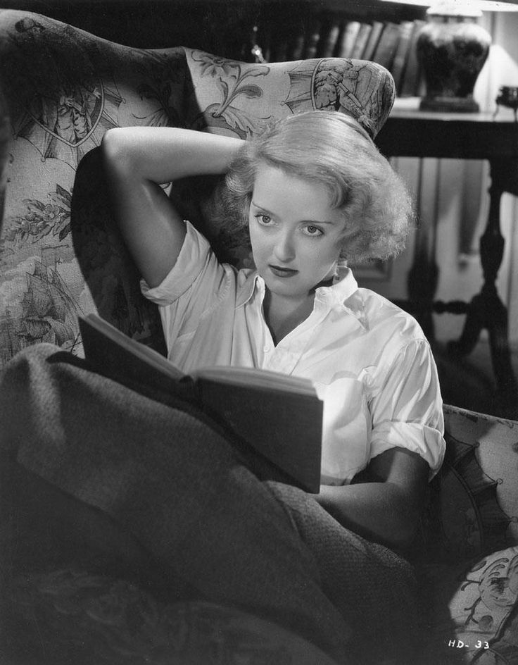 Bette Davis, as Joyce Heath, reading in Dangerous (1935). - Not even considered a good film back in 1935,  Dangerous is held together by the mesmerizing performance of Bette Davis. The star is cast as alcoholic, self-destructive stage actress Joyce Heath, a character obviously based on Jeanne Eagels.
