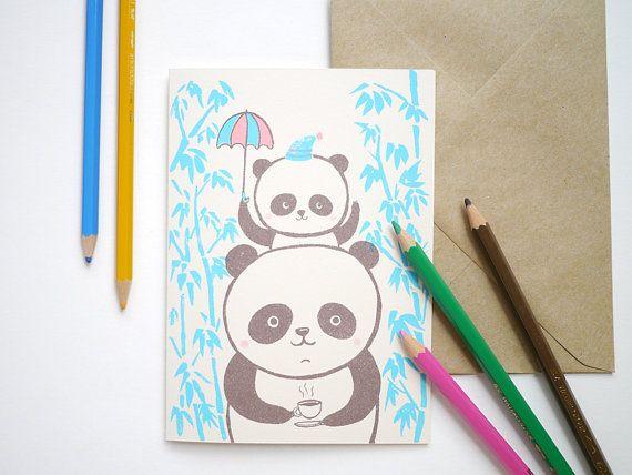 Famiglia di Panda - mano stampato I Love you, compleanno, New baby Card