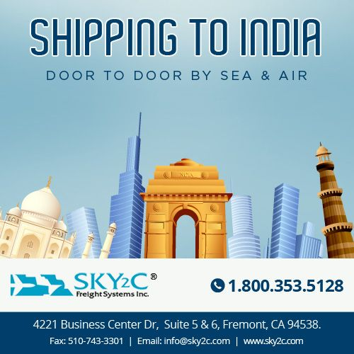 Sky2C offers door to door shipping service to India from USA at affordable rates. Call us today at +1.800.353.5128 for a free Quote. #ShippingtoIndia