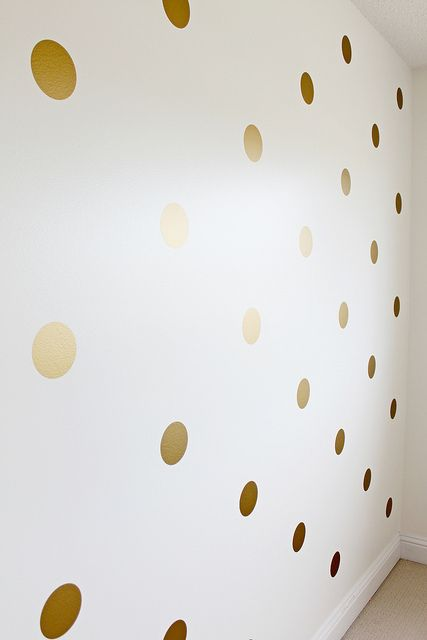 Gold Polka Dot Wall Decals, $8.98  https://www.etsy.com/listing/166607329/peel-and-stick-metallic-gold-polka-dot