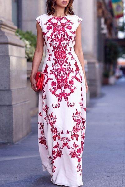 Floral Print Floor-Length White Dress