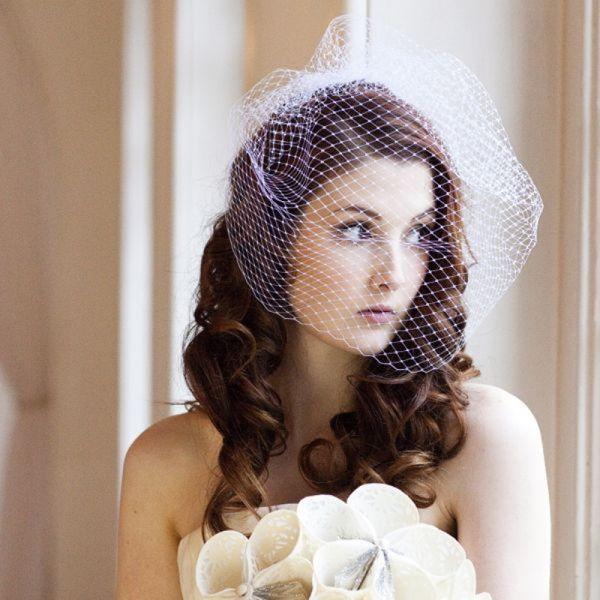Birdcage Veil with Long Hair, www.weddingelation.com