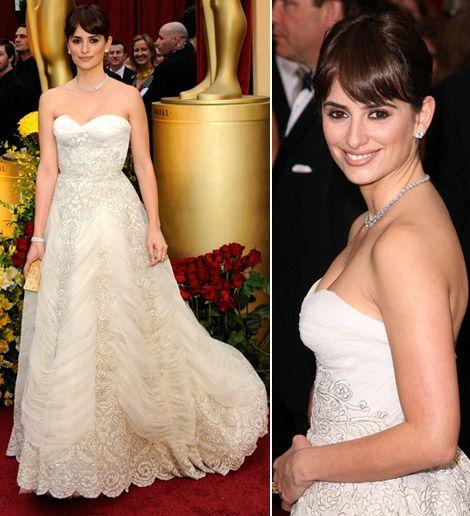 White Pierre Balmain Dress: Penelope Cruz, 2009 Oscars #wedding