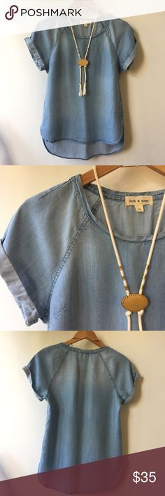 Anthropologie Cloth & Stone Chambray Shirt Beautifully soft shirt from Anthro's Cloth & Stone brand. The Chambray is super soft and drapes well. Slight hi-lo hem and sewn cuffed sleeves make this simple piece special. Excellent condition, no signs of wear. From a non-smoking, pet-free home. Anthropologie Tops Blouses