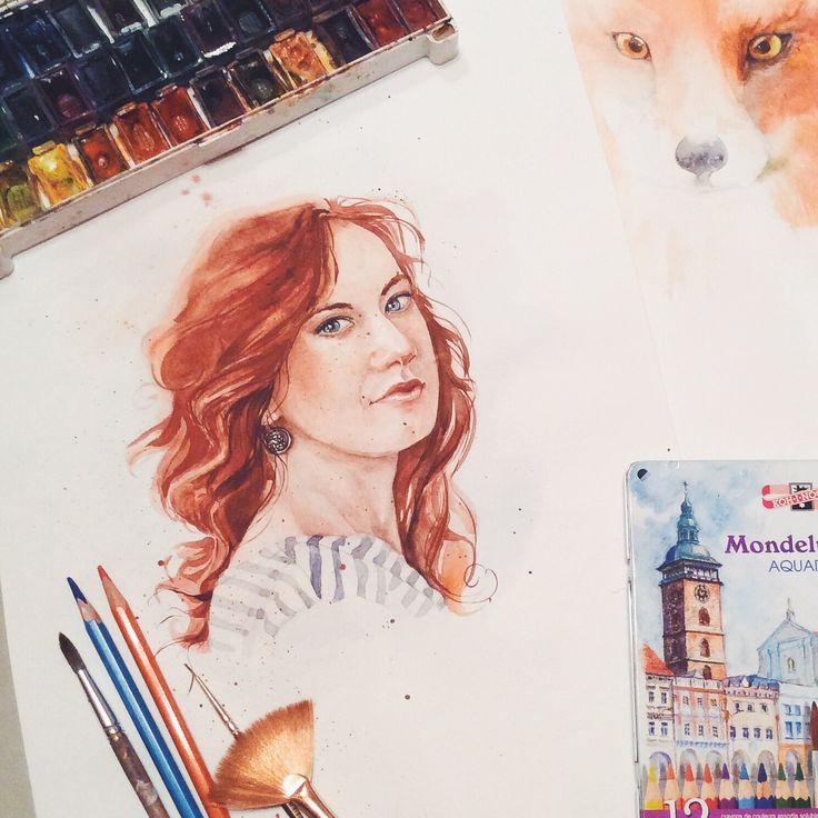 #red #sketch #watercolor #art #portrait  #girl #mood