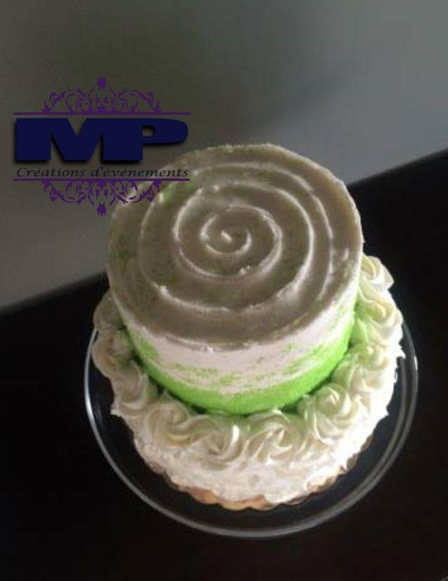 Gâteau en crémage 50ème anniversaire / Vert et blanc