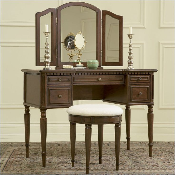Warm Cherry Wood Makeup Vanity Table with