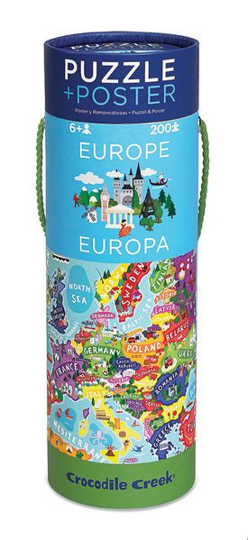 """200-piece Europe map puzzle. Fun & challenging, comes with a perfectly-sized wall poster. Packaged in a reusable storage canister. Ages 6+ Puzzle is 13""""x19"""", Poster is 16""""x24"""", Canister is 4""""W x 11.5""""H x 4""""D. #CrocodileCreek #CamelotKids #GeographyFun #MapPuzzle"""