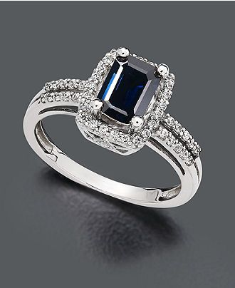14k White Gold Ring, Sapphire (1 ct. t.w.) and Diamond (1/5 ct. t.w.) -  Rings - Jewelry & Watches - Macy's #divorcering: #trashthedress #divorce