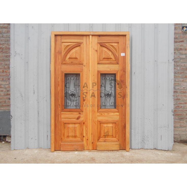 Puerta de frente de madera antigua en pinotea puertas de for Puertas balcon usadas