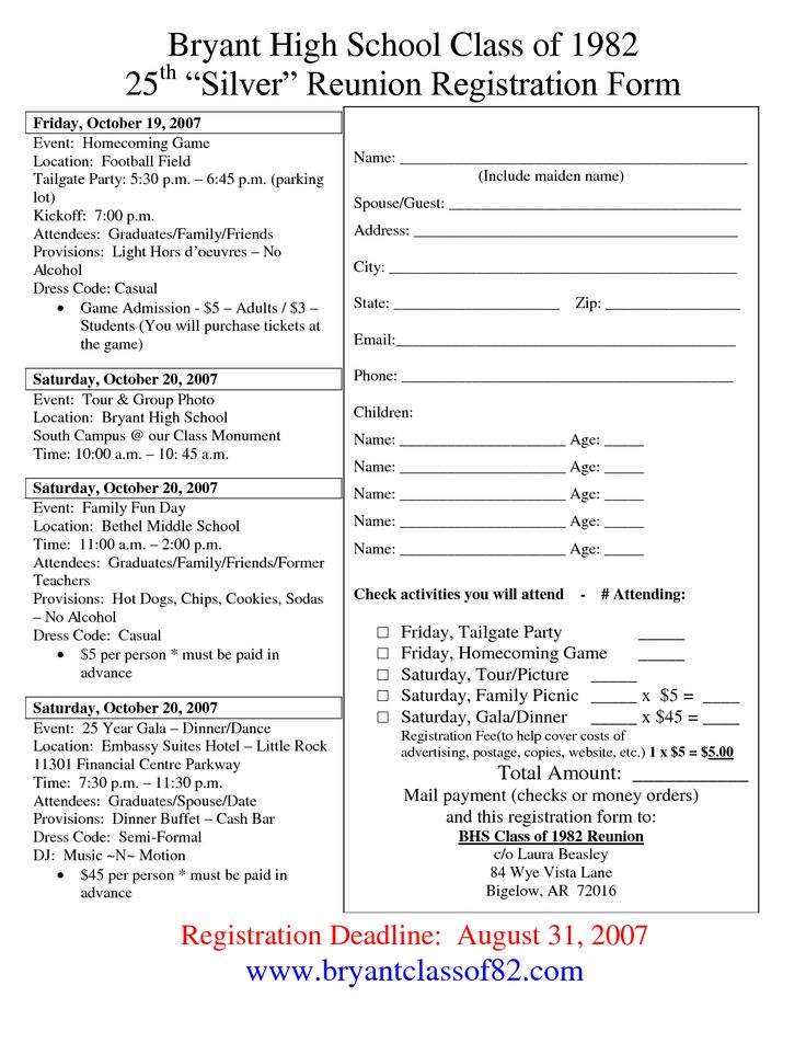 78 best reunion registration images on pinterest family for High school registration form template