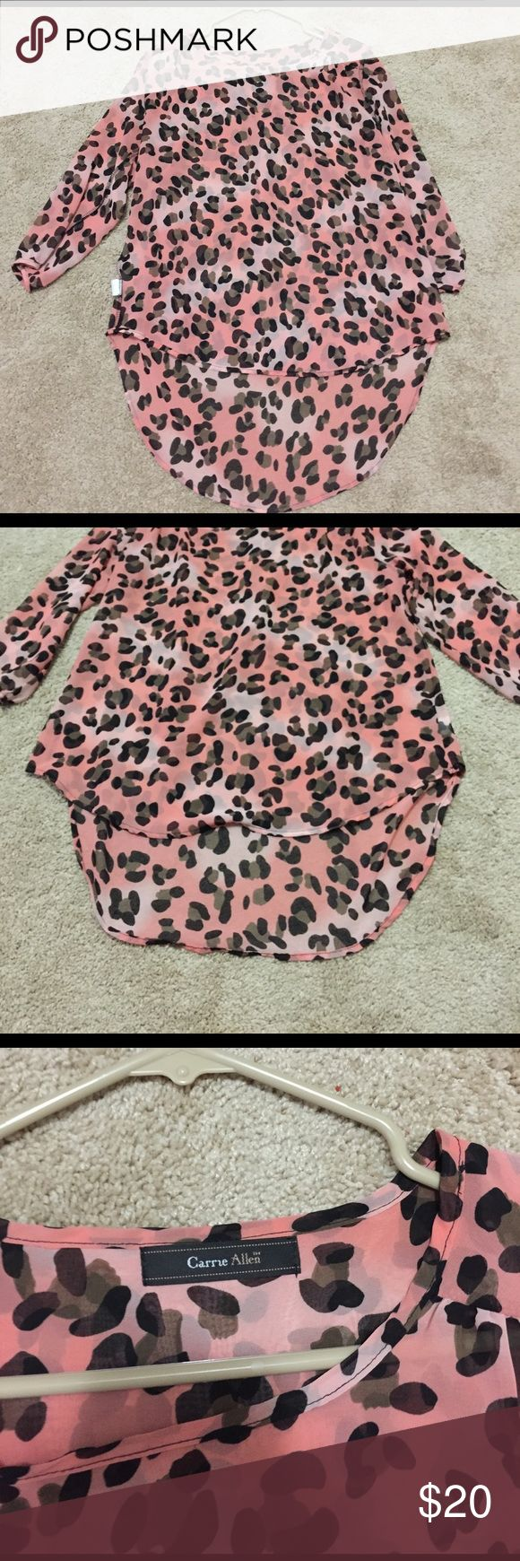 Half-sleeve leopard print shirt Very cute and comfy shirt that has only been worn a couple times! Tops Blouses