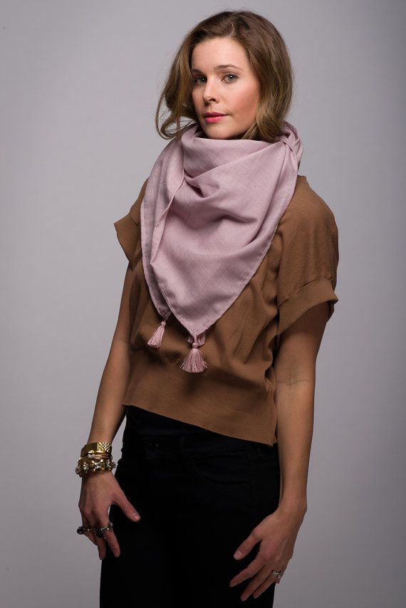 Lightweight Lavender Scarf with Tassels Square by WICKandPoppy, $71.13 Etsy
