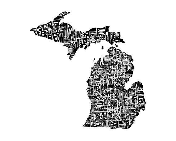 home.Giclee Prints, Typography Maps, Typographic Michigan, Premium Giclee, Art Prints, Gicl Prints, Michigan Prints, Michigan Premium, Maps Art