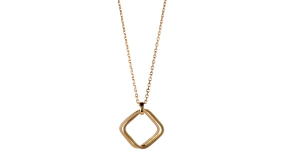 Handmade 18ct yellow gold double square pendant