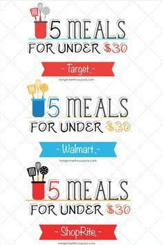 Meal Planning on a Budget - Weekly Meals Planned based on the sales at Walmart, Target and ShopRite. Meals for under $6 a meal for a family of 4. Printable shopping list, ingredient list andm ore. Living Rich With Coupons®
