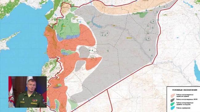 Das Original: Das russische Verteidigungsministerium veröffentlichte am Mittwoch eine Syrien-Karte, die fast das gesamte Rebellengebiet als von der Nusra-Front kontrolliert deklariert