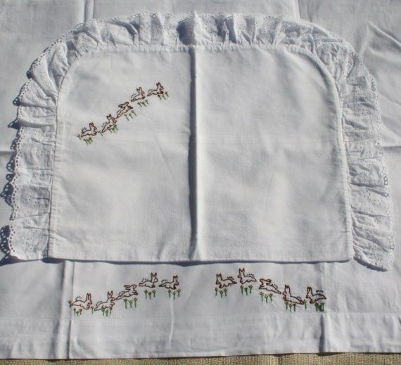 Vintage embroidered baby sheet and sham set.  So sweet!