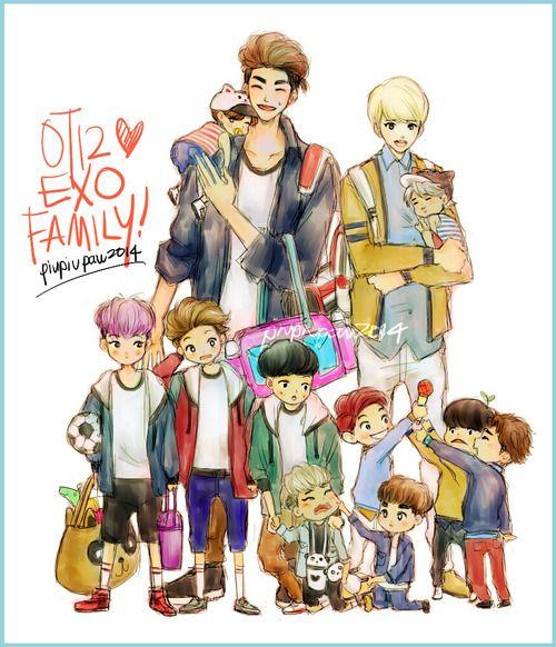 EXO Family!.. Super Cute! #Fanart