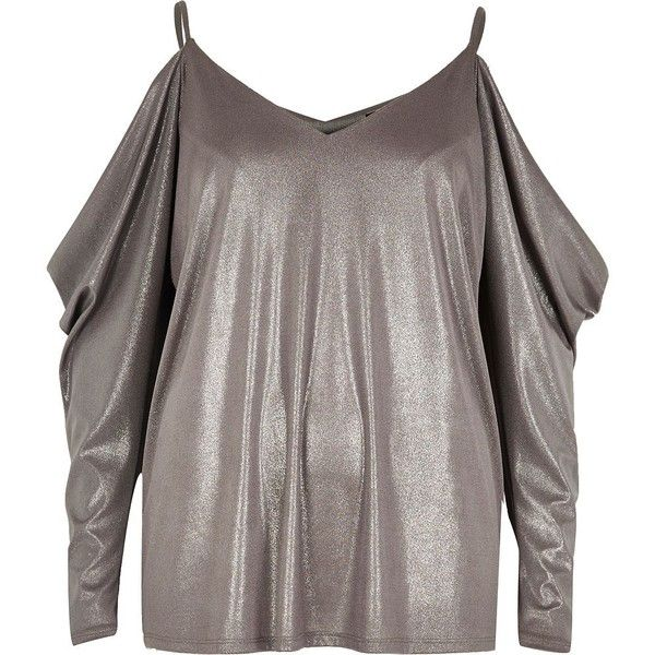 River Island Silver ruched cold shoulder top (69 CAD) ❤ liked on Polyvore featuring tops, bardot / cold shoulder tops, silver, women, silver camisole, camisole tops, silver cami top, brown cami top and brown tops