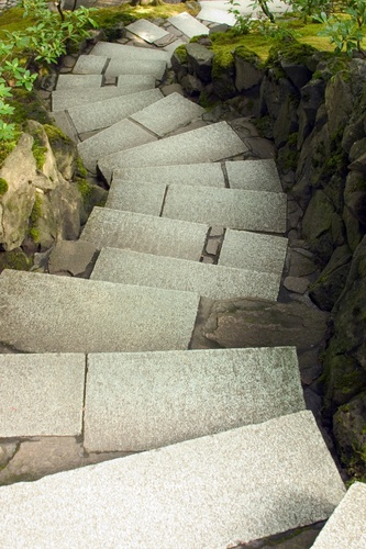Picture - Winding stone staircase at Japanese Gardens in Portland. | PlanetWare