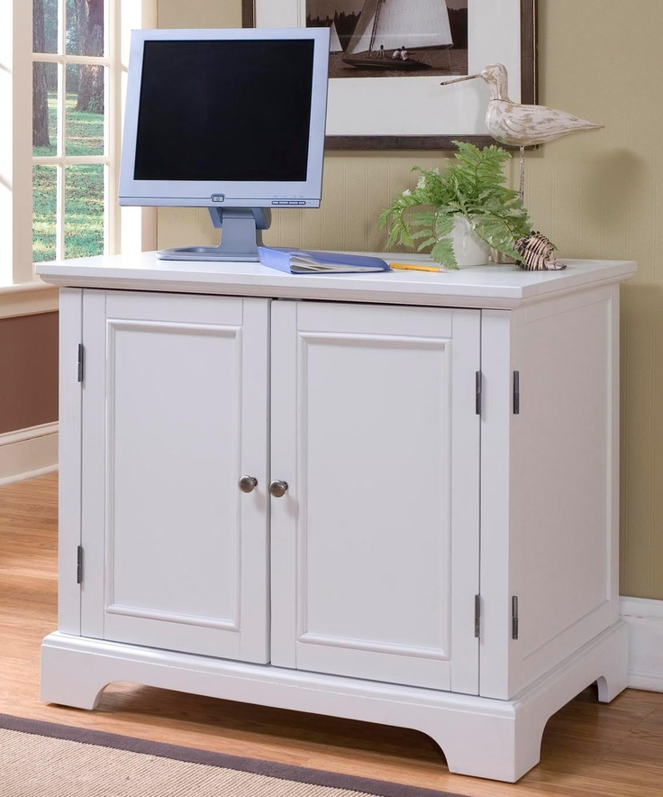 Naples White Compact Computer Desk Office Cabinet