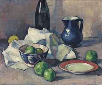 Black Bottle, Napkin and Green Apples / Samuel John Peploe, R.S.A. / c. 1916 / oil on canvas