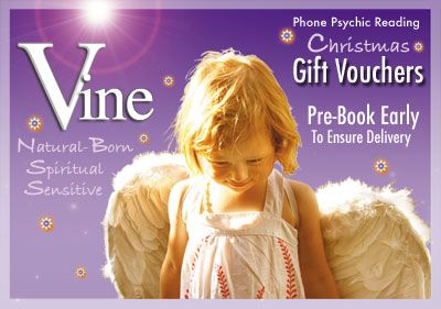 Australian Vine Psychic Reading Line Christmas Gift Vouchers are now available for purchase. BOOK EARLY to ensure a speedy turn around.  Use the Simple 2 Step Process. Step 1. Go to the Booking section and tell us the name and email of the person you are purchasing the Gift Voucher for. In Step 2 select the gift voucher reading required from the PayPal drop-down list. http://www.vinemedium.com.au/index.html#Book #psychic #psychicreading #PsychicGiftVouchers