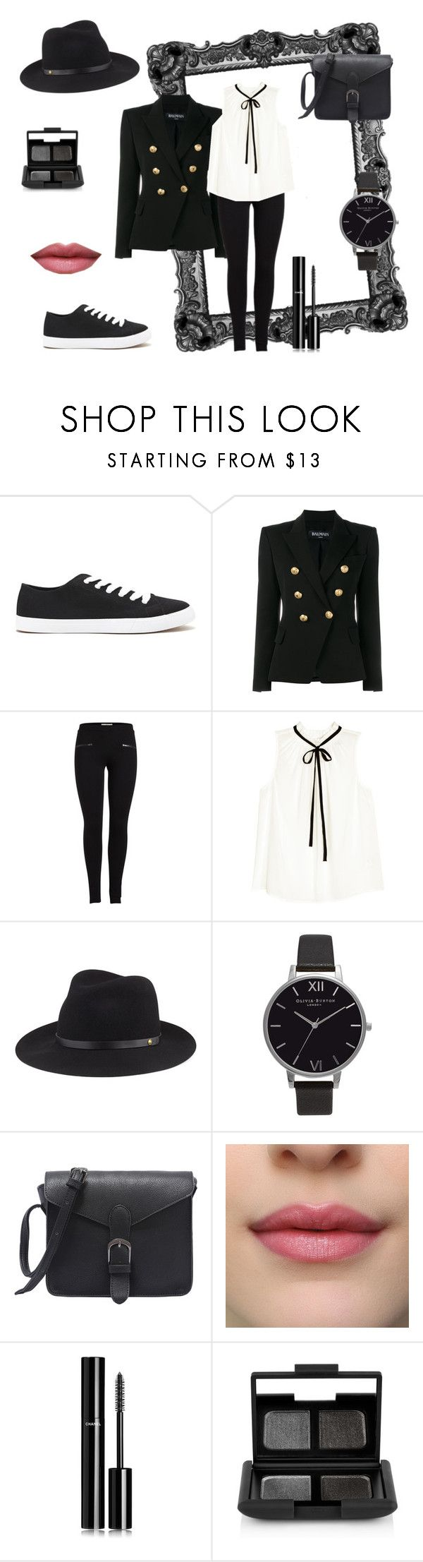 """Black Statement"" by arts22 on Polyvore featuring Mode, Forever 21, Balmain, H&M, rag & bone, Olivia Burton, Chanel und NARS Cosmetics"