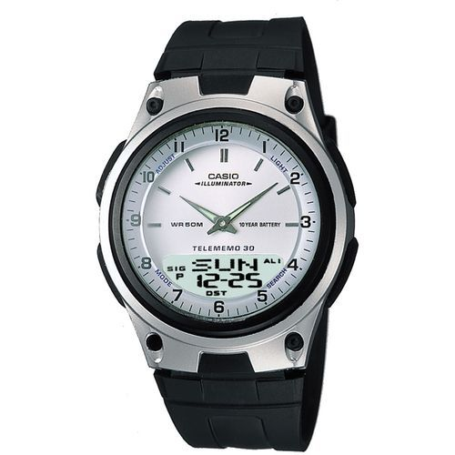 Casio Men's Databank AW80-7AV Analog/Digital Watch Silver Tone/Black - Open Sell Watches at Academy Sports