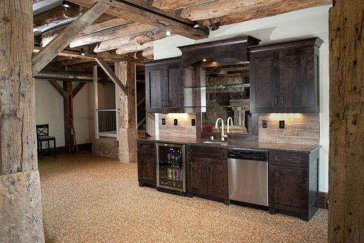 Basement Bar Exposed Beams But With Unfinished Basement Stained Concrete Floor Rustic