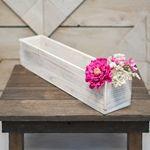 Planter Box, Rustic Wood, Plastic Liner, Rectangle, 20 inch, Whitewash