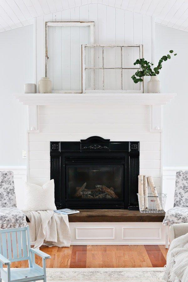 White Living Room and Mantel Decor 18