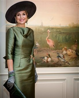 Queen Maxima of The Netherlands who opens the exhibition Royal Paradise - Aert Schulman and the imagination of nature looks at wallpaper from her future home Palace Huis ten Bosch that is in renovation till 2018 in the Dordrechts Museum on February 18, 2017 in Dordrecht, Netherlands.