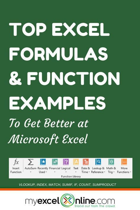 CLICK TO VIEW ALL 50+ EXCEL FORMULAS | Learn Microsoft Excel Tips + Free Excel Tutorials & Cheat Sheets | The Most In-Depth Excel Video Courses Online at http://www.myexcelonline.com/138-23.html #Microsoft