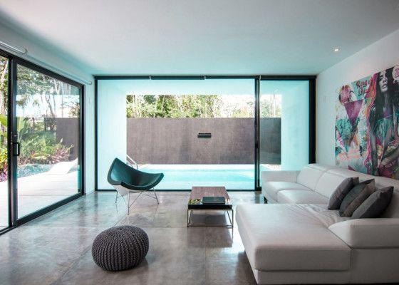Diseño de interiores de sala minimalista