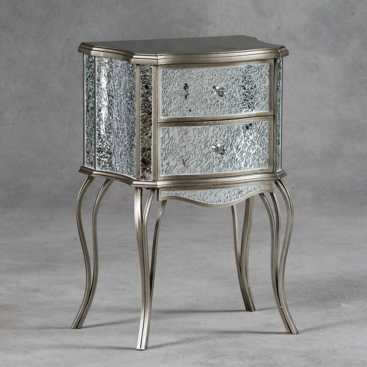 Mosaic Champagne Gold Mirrored Bedside Table In 2019