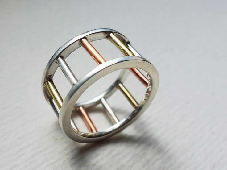 Sterling silver, copper and brass ring Design&Handmade by bizutheria
