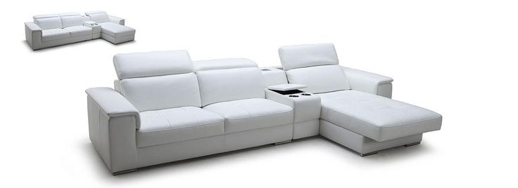 White Full Leather Sectional Sofa with iPhone Dock