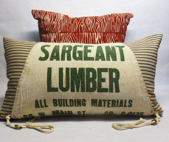 Hand Crafted Upcycled Kidney Pillow - Made from Vintage Apron - Rustic Industrial Decorative Pillow