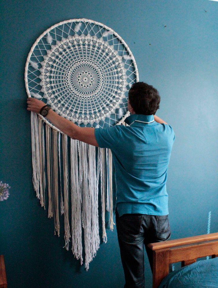 Giant dreamcatcher, boho wall hanging large, boho wedding photo backdrop, large dream catcher, crochet dreamcatcher, bedroom wall hanging by TheWovenDreamFactory on Etsy https://www.etsy.com/listing/281200842/giant-dreamcatcher-boho-wall-hanging