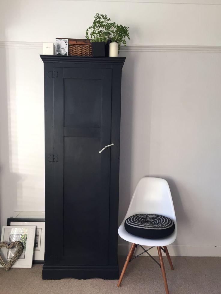 Black Antique Linen cupboard vintage kitchen larder matt black with white shelves and working lock and key. Scandi style monochrome antique style linen cupboard.