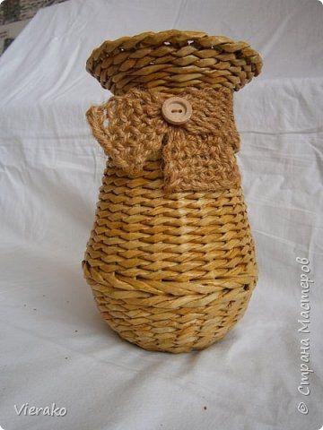 Поделка изделие Плетение Поднос и две вазочки Бумага газетная Трубочки бумажные фото 6