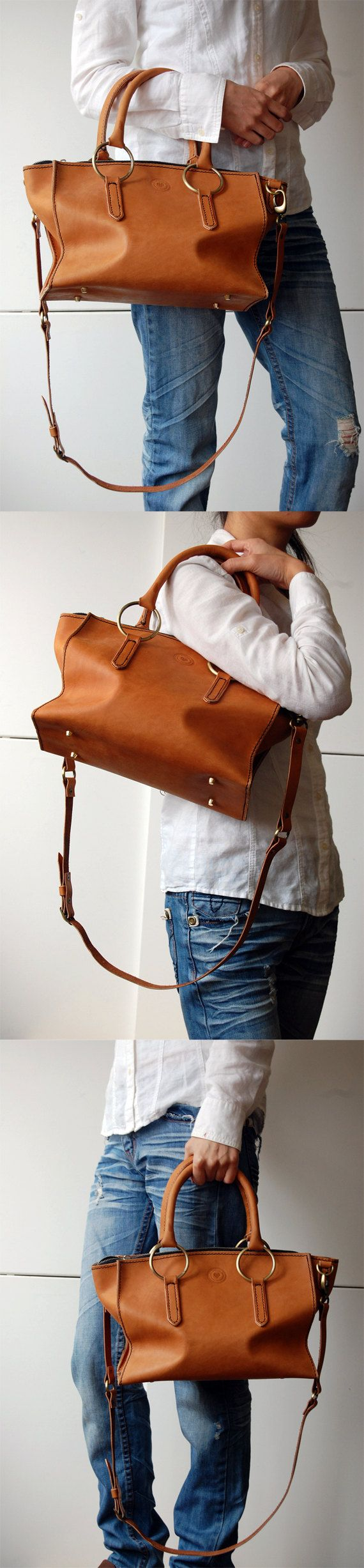 Handstitched Tan Leather Satchel No 8 by OrigamiLeather on Etsy, $195.00