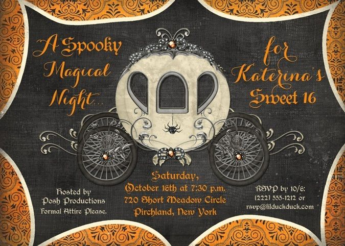 Fairytale Halloween sweet 16 invitations tempt your guests with spooky magical…