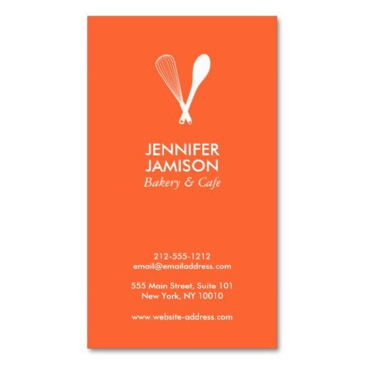 MODERN WHISK & SPOON LOGO on ORANGE Business Card