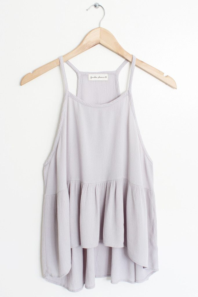 """Details Size Shipping • 100% Rayon • Pre-washed Hi-Lo square back tank top • Hand Wash • Line dry • Made in the U.S.A • Measured from small • Length 25"""" • Chest"""